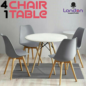 Dining Table and 4 Chairs Set Round Table Small Dining Table Kitchen Lounge