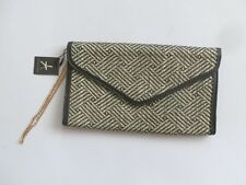 """ATMOSPHERE BLACK & WHITE WICKER EFFECT CLUCH BAG 7X11"""""""