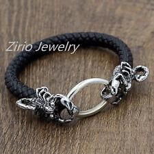 Men's Stainless Steel Scorpion Bangle Braided Genuine Leather Bracelet Wristband