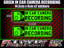 IN CAR CAMERA RECORDING STICKERS X2 decal dvr car van bike truck bus GREEN