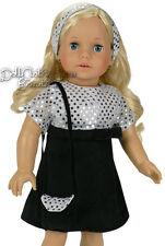 "Black Velvet Silver Sequin Dress fits 18"" American Girl Doll Clothes"