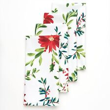 Food Network Holly & Pine Poinsettia Cloth Napkins Package of 4 Christmas NEW