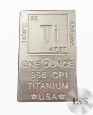 Fine Bullion .996 Titanium Block Pure One Ounce Bar, Collectible Elemental Ingot