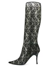 NEW CASADEI LACE BLACK TWISTED HEEL BOOTS size 9