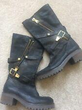 Daniel Footwear Black Leather Biker Boot Size 37 UK 4