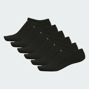 adidas Mens Originals ATHLETIC Cushioned NO SHOW 6 Pack BLACK Socks Sizes 6-12