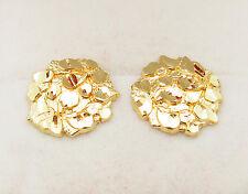 Men's 10k Yellow Gold Nugget Earrings 0.6 inch