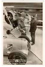 POSTCARD GERMAN AUTO RACER ROSEMEYER & AVIATOR HAGENBURG PHOTO 1937 (NP)