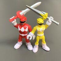 2x Fisher Price Imaginext Power Rangers RED YELLOW RANGER figure Super Friends