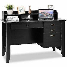 Tangkula Computer Desk With 4 Drawers and Bookshelf -Black