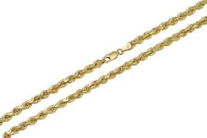 """Real 10K Yellow Gold 2mm-7mm Diamond Cut Rope Chain Pendant Necklace  7""""- 30"""""""
