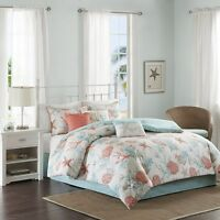 Coral Teal Seashells, Starfish, Beach CAL KING Comforter Set (7 Pc Bed In A Bag)