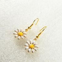 1 Pair Handmade Enamel Alloy Daisy Flower Charms Dangles Earrings Jewelry