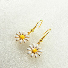 1 Pair Handmade Enamel Alloy Daisy Flower Charms Dangles Earrings Jewelry