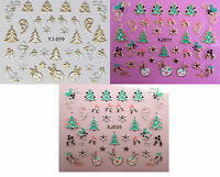 Christmas Nail Art Stickers Gold & Silver Snowflakes Xmas Tree Stars Baubles