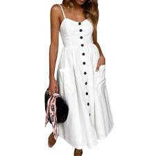 Women Holiday Strappy Button Pocket Boho Summer Beach Long Maxi Swing Sun Dress