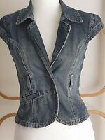 Marisa Y2K Boho Blue Denim Cap Sleeve Belt Loops Crop Vest Size 8 - 10