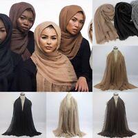 New Style Crinkle Plain Hijab Scarf Maxi Headscarf Large Scarves Shawl Ruffle