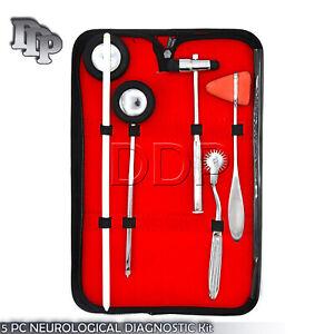 5 PCS Neurological Percussion Reflex Taylor Buck Hammer Pinwheel Diagnostic Set