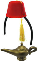 Red Fez Hat Headband Hat Genie Magic Wish Lamp Aladdin Abu Costume Cap Set Kit
