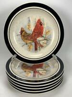 "Set of 6 Tienshan Folkcraft Scotty Z Cardinal Christmas 8.5"" Salad Plates"