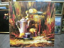 Painting, canvas, artwork. Still-life. Tea, lemons. Figol. Oil Paint Canvas