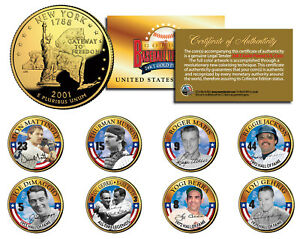NY YANKEES GREATS Statehood NY 24K Gold Plated Quarters U.S. 8-Coin Complete Set