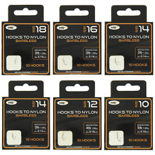 240 BARBLESS COARSE FISHING HOOKS TO NYLON IN SIZES 8 10 12 14 16 18 NEW IN PKTS