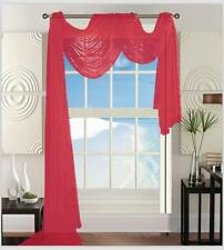 """Sheer Voile Window Curtain Scarf: 55""""W x 216""""L, Fully Hemmed"""