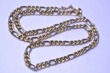MENS 14K TWO-TONE GOLD 23.5 INCH FIGARO CHAIN NECKLACE 5.3 MM WEIGHS 20.2 GRAMS