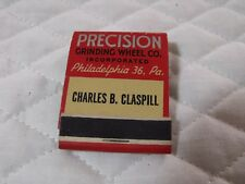 VINTAGE ADVERTISING MATCHBOOKS PRECISION GRINDING PHILADELPHIS, PA UNUSED