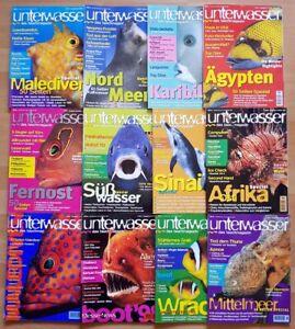 12x Unterwasser 1998 Jahrgang Zeitschrift Sport Meere Tiere Urlaub Tauchen
