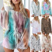 Ladies Pyjama Set Floral Polyester Long Sleeve Pocket loungewear Nightwear Suit