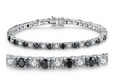Women 925 Solid Sterling Silver Black and White Cubic Zirconia Tennis Bracelet
