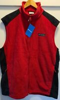 NWT Mens COLUMBIA Fleece VEST JACKET Size L Red and Black & Zipped Pockets