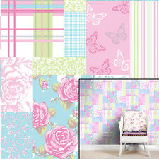 Coloroll Polyanna Sky Blue Pink Patchwork Floral Striped Feature Wallpaper