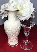 Lenox Ming Blossom Vase Raised Floral Ivory 24kt Gold & Crystal Candle Holder