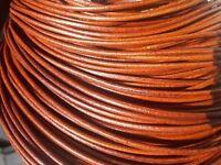 5 metros Cordon cuero autentico 2,5mm MARRON OSCURO cordones cueros CC25-08