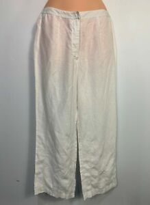 WOMENS NEXT SIZE UK 10 WHITE CASUAL SUMMER LINEN CROPPED STRAIGHT LEG TROUSERS