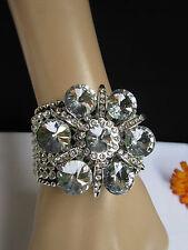 New women silver big flower fashion black leather bracelet beads rhinestone