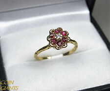 Vintage 10K Yellow Gold Pink Stones Cluster Ring Artist Signed JB Size 5.5
