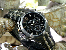 Pulsar PT3289 Men's Chronograph Black IP and Silver Tone Stainless Steel Watch