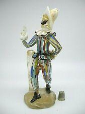 vintage 1940 Murano Cenedese Label Harlequin Arlecchino Commedia Del'Arte figure