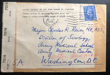 1945 Wakefield England Censored War Economy Label Cover To Washington DC USA
