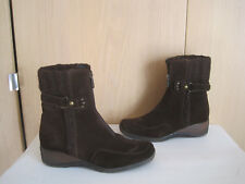 Women's AQUATALIA By Marvin K Brown Suede Front Zip Wedge boots Size 7.5