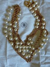 CHANEL Vintage 1980s Gripoix Baroque Pearl Sautoir Necklace 3 Strands AUTHENTIC