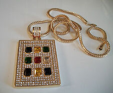 """Designer Style Gold Finish Hip Hop Bling Fashion  Pendant With 36"""" Franco Chain"""