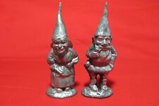 Pair Of Four Inch Tall Pewter Elf Gnome Pixie Figurines