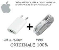 Caricatore rete ORIGINALE per iPHONE 5-5S-SE-6-6S-7 x PLUS Cavo Lightning BULK