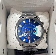 **NEW** Diesel DZ4358 Men's Stronghold Chronograph Gray Ion Plated Blue Watch